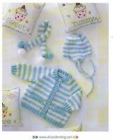 Cute Baby Cardigan Hat & Scarf DK KNITTING PATTERN (Prem - 12 mths) UKHKA 113