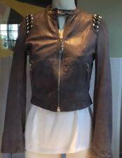 Faith Connexion Studded Grey Leather Jacket XS EUC