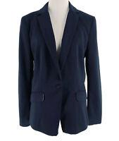 H&M Women's Dark Blue Single Button Long Sleeve Blazer Jacket Size 12