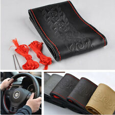 Black Leather Car Vehicles Interior DIY Steering Wheel Cover+2*Red Needle Thread