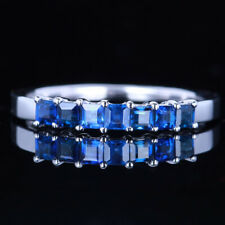 Sterling Silver Brilliant  VS Sapphire Engagement Wedding Anniversary Band Ring