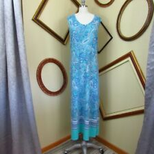 DENIM & Co. Women's Turquoise Paisley Belted Maxi T-Shirt Dress M
