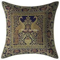 Ethnic Peacock Sofa Pillow Cover 40x40 cm Navy Blue Brocade 16x16 Cushion Cover