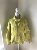 lafayette 148 Women's Size 14 Jacket Chartreuse Yellow Green Zip Up
