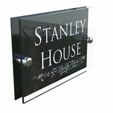 Personalised House Sign Door Number Street Address Plaque Modern Glass Rectangle