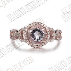 Prong Setting Round 7mm Morganite Natural SI/H Diamonds Fine Ring 18k Rose Gold