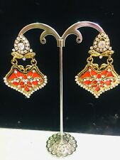 Orange Colour Diamonte Earring Indian Bollywood Style Long Dangle Jumka Jumki