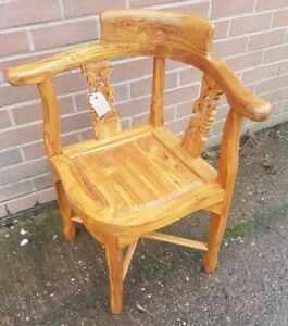 Exquisite Teak corner chair accent chair solid hardwood Carved chair