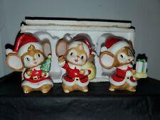 Vintage Homco Santa Mice Ceramic Christmas Figurines Set of 3 5405