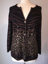 Just B Animal Print Cardigan Sweater Size Extra Large Wooden Beads And Sequins