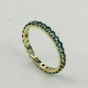 Anniversary Gift Solid 10k Yellow Gold Handmade Band Ring Blue Sapphire Ring