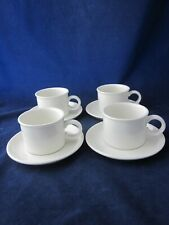 WEDGWOOD MIDWINTER Stonehenge White Cup & Saucer Set of 4 Round Mark ~ EXCELLENT