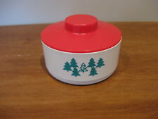 TUPPERWARE vintage Christmas candy canister dish #2062 w/green trees & red lid
