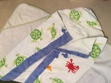 TWO pottery barn kids hooded towels baby infant girls boys, great condition!