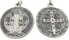 "Catholic Gift HUGE 2 1/2"" Silver Plate Saint Benedict Pectoral Medal Pendant"