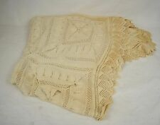 Lace Tablecloth Beige Rectangular Diamond Crocheted Vintage 64 x 72 Crafts