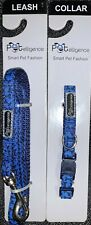 "PETELLIGENCE XS (TOY 3/8"" WIDE) BLUE COLLAR WITH BLACK BONES & MATCHING LEASH"