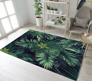 Tropical Rain Forest Green Leaves Area Rugs Bedroom Carpet Living Room Floor Mat
