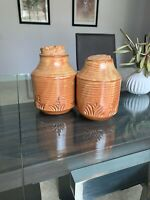 Liebermann Pottery Pair of 2 Jars with Cork Lids