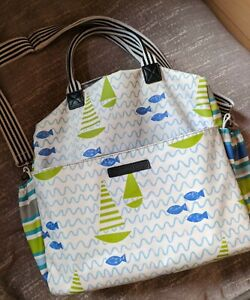 Designers Guild baby changing bag. With Mat & Some Toys.