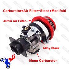15mm Filtro de aire Gas Scooter Carburador Kit de pila de aleación 33cc 43cc 49cc Evo Goped