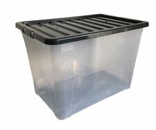 4 X 80 LITRE PLASTIC STORAGE BOXES - OFFICES TOYS HOME - WITH BLACK LID - CHEAP