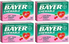 4 Pack Bayer Chewable Low Dose Child Aspirin 81mg Tablets Cherry 36 Tablets Each