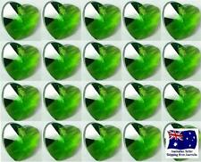 Glass Heart Charm Bead - 10mm 20pcs - Medium Green