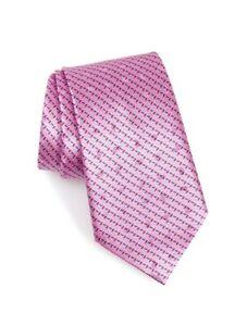 """$195- ERMENEGILDO ZEGNA Pink Diagonal Geometric 100% Silk Luxury Tie - 3.5"""""""