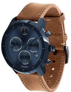 Brand New Men's Movado Bold 3600476 Chronograph Blue Sunray Dial  Brown Leather
