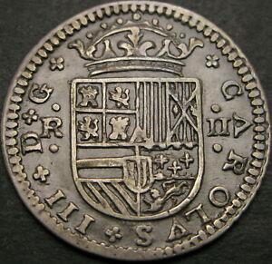 SPAIN 2 Reales 1707 - Copper - Carlos III - VF/XF - 1501 ¤
