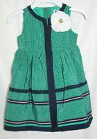 Janie and Jack Girls Dress Green Navy Blue Pink Polka Dot Sleeveless 6-12 Month