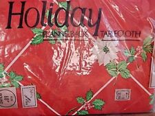 Nos Christmas Holiday Kitchen Flannelback Round Red Poinsettia Holly TableCloth
