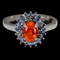 Oval Orange Fire Opal 7x5mm Sapphire Diamond Cut 925 Sterling Silver Ring