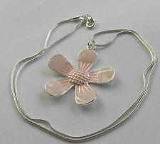 Handmade Fashion Jewellery Pretty Pale Pink Large Enamel Flower Pendant Necklace
