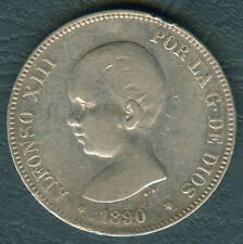 1890 Spain ALFONSO XIII 5 pesetas Crown Size Silver Coin #1