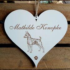 Personalisiertes Schild Herz « ZWERGPINSCHER » Name Türschild Hund Hunde Deko