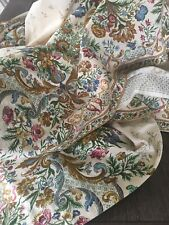 Vintage Colonial Williamsburg Floral Barkcloth Drape Pair