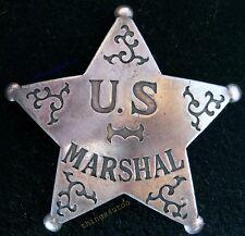 US Marshal antique western silver lawman star badge #BW21