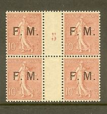 "FRANCE STAMP TIMBRE FRANCHISE MILITAIRE N° 4 "" SEMEUSE 10c, BLOC 4 "" NEUF xx TTB"