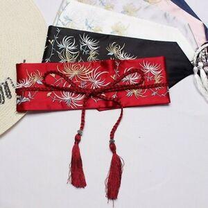 Women Belt Japanese Kimono Wide Obi Yukata Waistband Strap Satin Embroidered