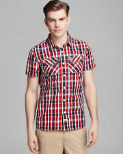 NEW + TAGS * SUPERDRY * RED BLUE BEIGE CHECKED SHORT SLEEVE SHIRT SZ L RRP £55