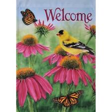 """Welcome"" Coneflower Finch,Flowers,Butterfly Large House / Garden Flag 28"" x 40"""