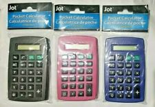Pocket Calculator 8-Digit Plastic Blue, Pink & Black