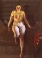 LMOP1067 Sitting naked woman portrait hand painted oil painting art on canvas