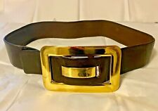 Women's Brown leather beautiful quality belt w/gold color buckle, size 32