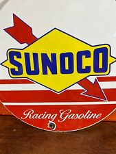New ListingVintage 'Sunoco' Racing Gasoline Gas & Oil Pump Plate Porcelain 12 Inch