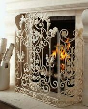 French Country Ornate Fireplace Screen Floral Scroll Shabby Chic Fire Screen
