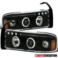 For 1994-2001 Dodge Ram 1500 Black Clear LED DRL Strip Halo Projector Headlights