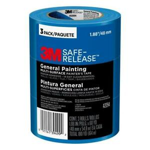 Safe Release Painters Tape 3M Multi-Surface Blue 1.88 in x 60 yd 3 Rolls